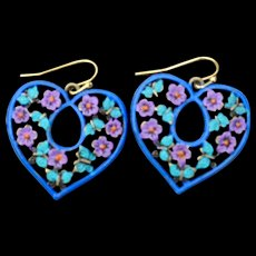 Hand-Painted Heart & Butterfly Earrings in blue & pink