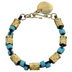 Contemporary Cowgirl Style Leather & Greek Gold Bracelet