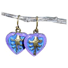 Hand Painted Non-Toxic Zinc Alloy Purple Heart Earrings