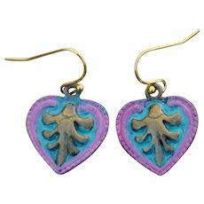 Rustic Styling Non-Toxic Zinc Alloy Heart Earrings
