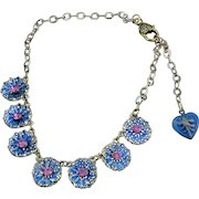 Sweetheart Rosette Pink Crystal Necklace