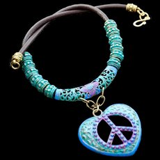 Hand-Painted Love & Peace Heart Pendant on Leather Necklace