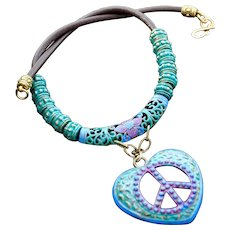 Hand-Painted Love & Peace Pendant on Leather Necklace