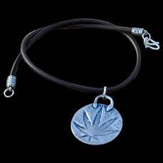 Fine Silver Hand-Cast Weed Pendant on Leather with a Cowgirl Flair