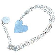 Fine Silver Heart on Sterling Silver Chain