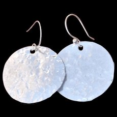 Fine Silver Hammered Mod Disk Earrings