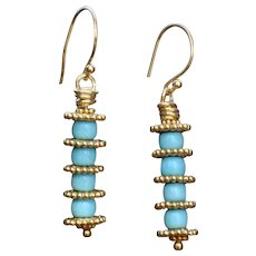 24K Gold Vermeil and Sleeping Beauty Turquoise Earrings