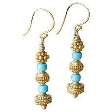 Sleeping Beauty Turquoise & Gold Vermeil Earrings