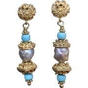 Rosebud Pearl & Sleeping Beauty Turquoise Post earrings