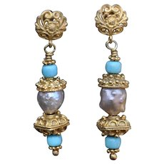Rosebud Pearl & Sleeping Beauty Turquoise Post earrings