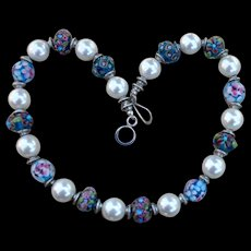 Shell Pearl & Lampwork Necklace