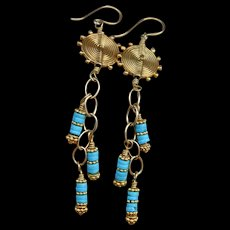 Sleeping Beauty Turquoise & Gold Vermeil Swing Earrings