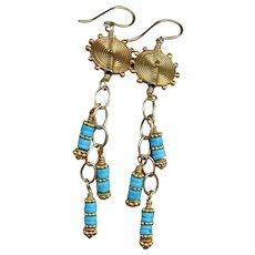 Sleeping Beauty Turquoise & Gold Vermeil Swing Earrings