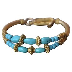 Double Strand Untreated Sleeping Beauty Turquoise & Gold Vermeil Bracelet