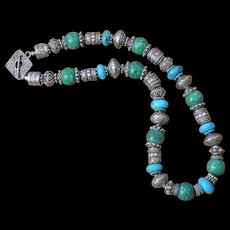 B.Bold Bali Sterling Silver, Amazonite & African Jasper healing Necklace