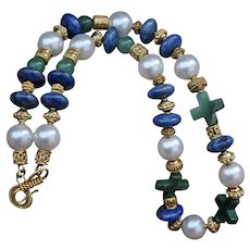 Lapis, Aventurine, Pearl and Three Cross Necklace with 24K Gold Vermeil