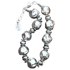 Chunky Ceramic Coated in Fine Silver Brilliantly Bold Necklace