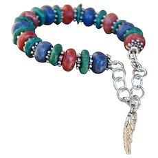 Denim Lapis, Stabilized Turquoise and Rhodochrosite Slip on Bracelet
