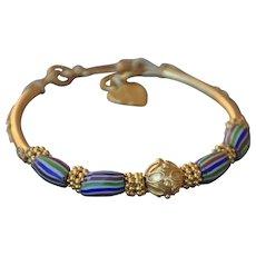 Hand-made Chevron Bead Bracelet  and 24K Gold Vermeil Ensemble (includes matching Chevron Dangle Earrings)