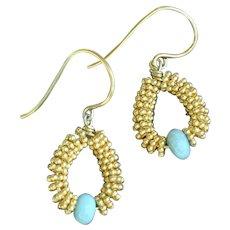 Delicate 24K Gold Vermeil Earrings with Brazilian Blue Amazonite earrings