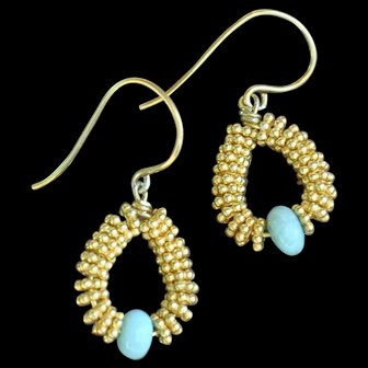 Delicate 24K Gold Vermeil Earrings with Brazilian Blue Amazonite earrings