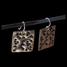 Running Horse Fine Silver Earrings in Square Format