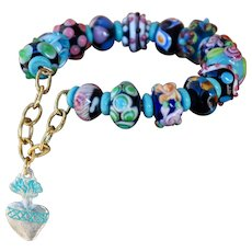 Hand-made Lampwork Bead Bracelet in Shades of Summer with Milagro Charm
