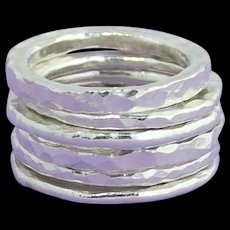 So stylish fine silver stacking rings (set of 6)