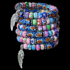 Shabby Chic Polymer and Krobo Beaded Bracelet