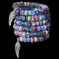Shabby Chic Polymer and Krobo Beaded Bracelet
