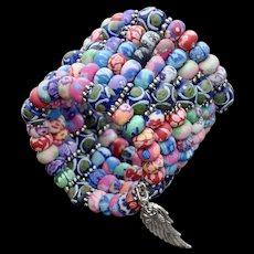 Shabby Chic Polymer Clay and Krobo Bead Bracelet
