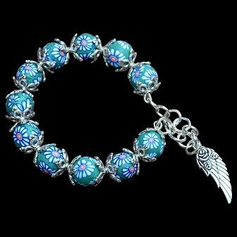 Teal & Blue Polymer Clay Flower Pattern Bead Bracelet