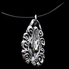 Flaming Heart in Hand Fine Silver (.999) Milagros Necklace