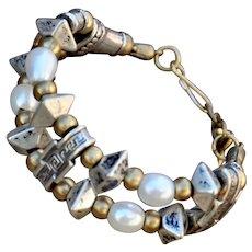 Double strand fine silver ceramic beads & pearl bracelet
