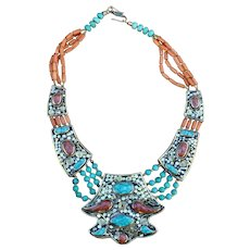 Showy Nepalese Medallion Necklace with Coral & Turquoise