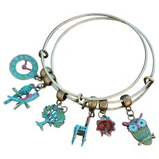 Triple Charmed Chimayo Slip On Bracelets