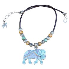 Spirit of the Elephant Pendant on Greek Leather necklace