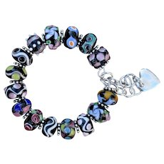 Lampwork Bead Bracelet with a Heart Charm