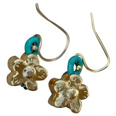24 Karat Gold Fired over Copper Forget-Me-Not earrings