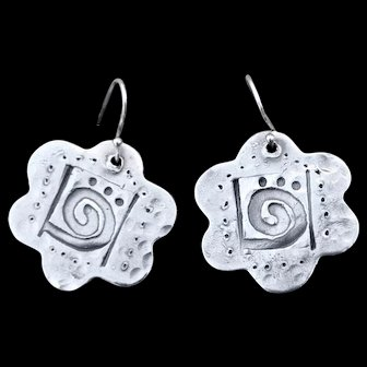Fine Silver Hand-Stamped Spirit of the Ancient Earrings