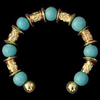 24 Karat Gold Fired Over Copper and Ceramic Bead Bracelet