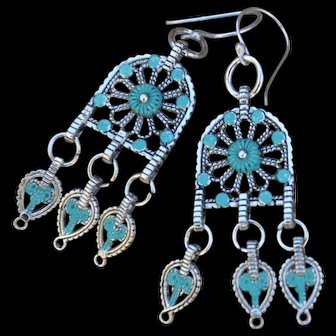 Non-Toxic Zinc Hand-Painted Cathedral Swing Earrings