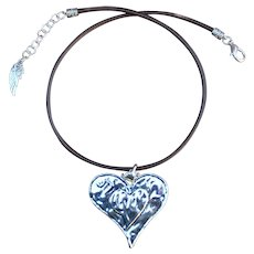 Debutante Biker Heart Medallion on Greek Leather