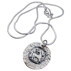 Wild Horse Running Free Fine Silver Pendant