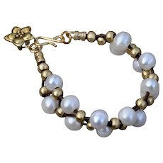 B.Bold Fresh Water Pearl & Brass Warrior Bracelet