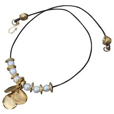 Triple Coin & Freshwater Pearl Charmed Necklace
