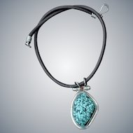Amazing Turquoise inlay Sterling Silver Pendant on Greek Leather