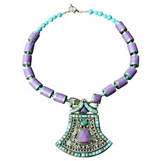Vintage Nepalese Sugilite & Chinese Turquoise Necklace/Pendant