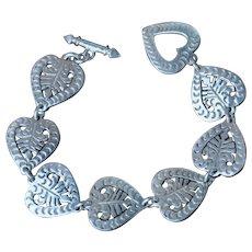 Mexican Fine Silver Heart Linked Bracelet