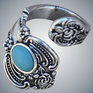 Sterling Silver .925 Spoon Ring with Turquoise Bead